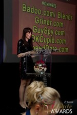 Julie Spira announcing the winner of Best Mobile Dating App in Las Vegas at the 2013 Online Dating Industry Awards